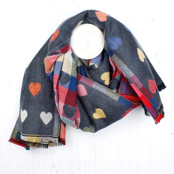Grey and pink mix multi hearts winter scarf | Image 1