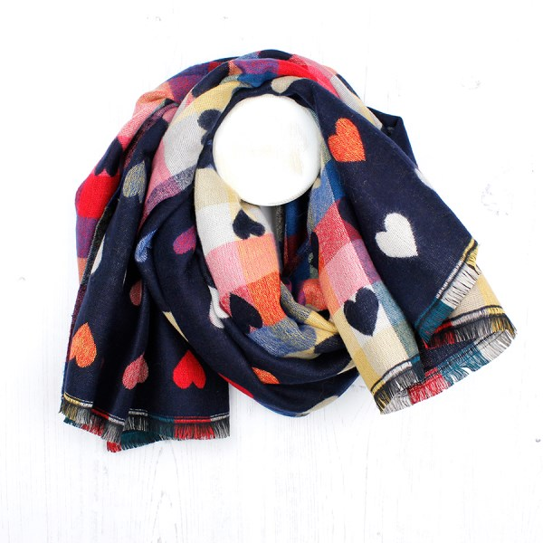 Navy Blue mix multi hearts winter scarf | Image 1