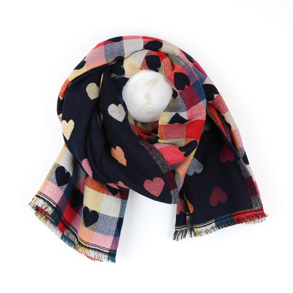 Navy and multi-coloured hearts reversible winter scarf | Image 1
