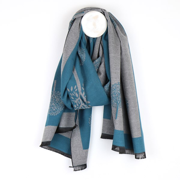 Reversible teal and grey jacquard tree scarf | Image 1