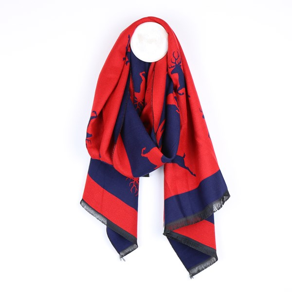 Reversible bright red and blue jacquard stag scarf | Image 1
