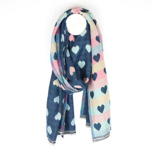 Reversible pastel and denim blue jacquard heart scarf | Image 1
