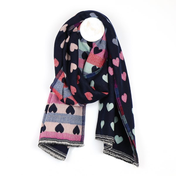 Reversible navy and pastel jacquard heart scarf | Image 1