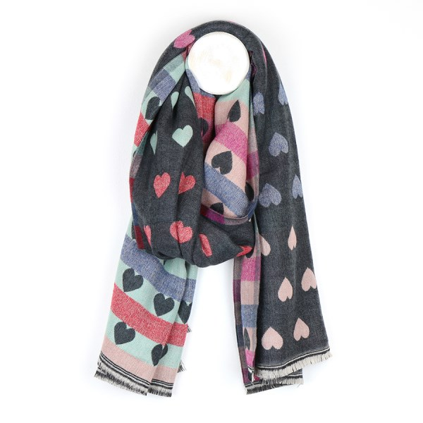 Reversible pastel and mid grey jacquard heart scarf | Image 1