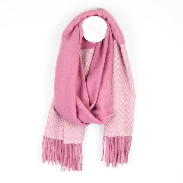 Pink mix herringbone scarf with fringed ends | Image 1