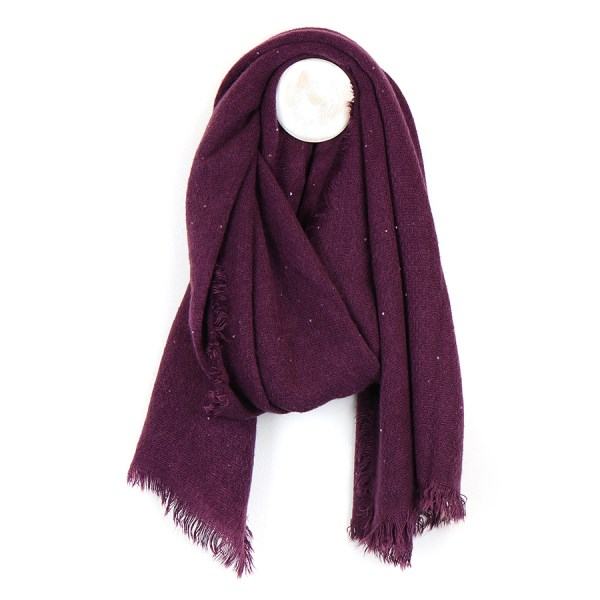 Mulberry loose weave scarf with metallic silver sequins | Image 1