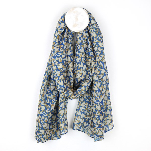 Blue recycled scarf with layered multi heart print | Image 1