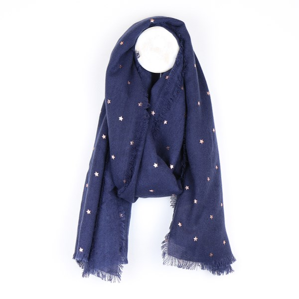 Navy blue loose weave scarf with rose gold stars | Image 1