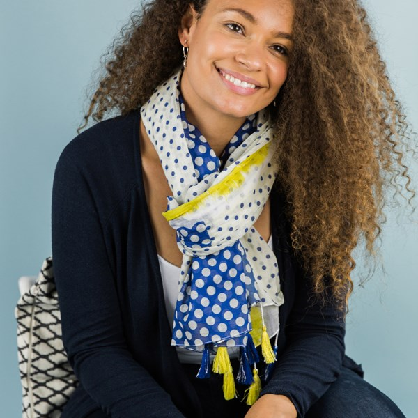 White scarf with navy spots, yellow stripe and tassels | Image 1