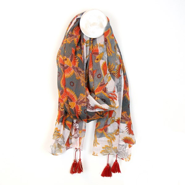 Grey cotton scarf with bird of paradise print and tassels | Image 1