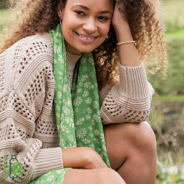 Recycled green mix daisy print scarf | Image 1
