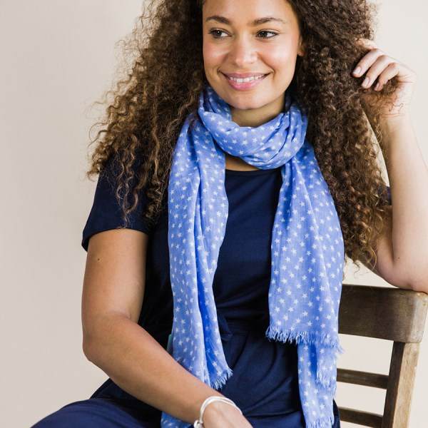 Blue cotton scarf with white multi star print | Image 1
