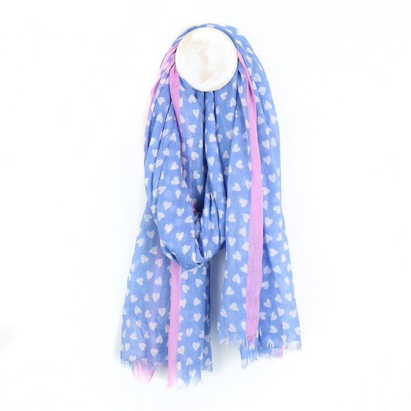 Blue and white heart cotton scarf with pink border | Image 1