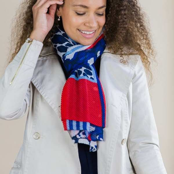 Blue and red crinkle scarf with animal prints and stripes | Image 1