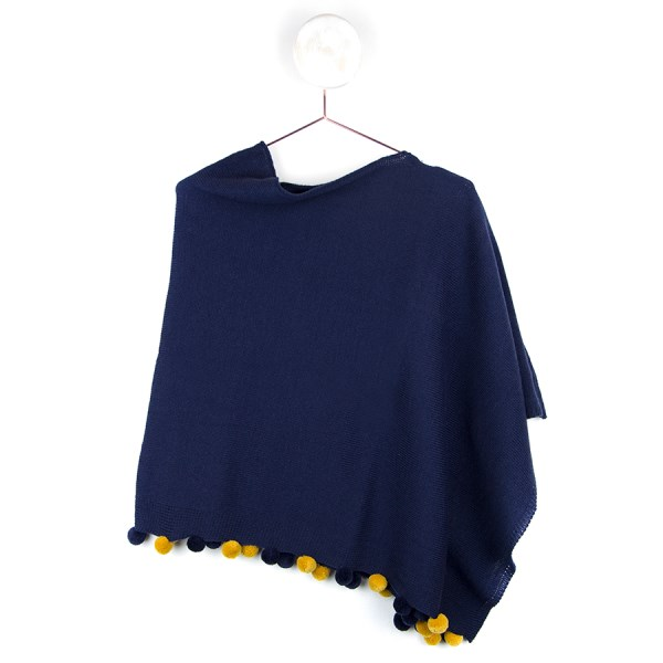 Navy blue poncho with navy and mustard pom-poms | Image 1
