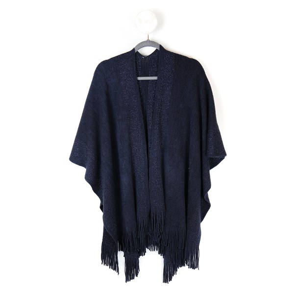 Blue knitted winter wrap with metallic  stripes | Image 1
