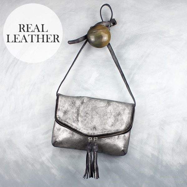 Navy leather handbag with metallic silver finish | Image 1