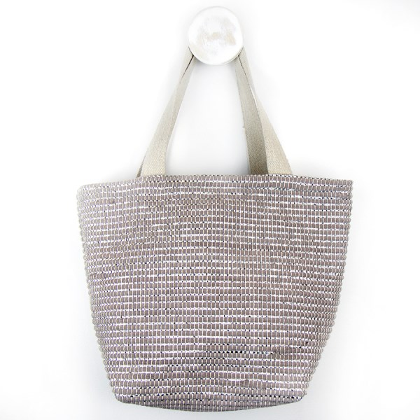 Recycled grey and metallic silver shoulder bag | Image 1