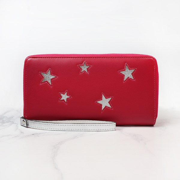 Berry red faux leather purse with silver star inserts | Image 1