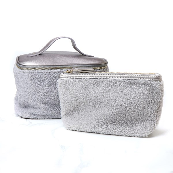 Grey faux shearling make-up bag and washbag set | Image 1