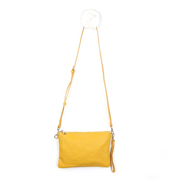 Vegan Leather convertible clutch bag in mustard yellow | Image 1