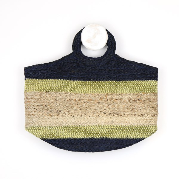 Round handle jute bag with navy and gold | Image 1