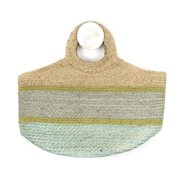 Round handle jute bag with blue-grey and gold | Image 1