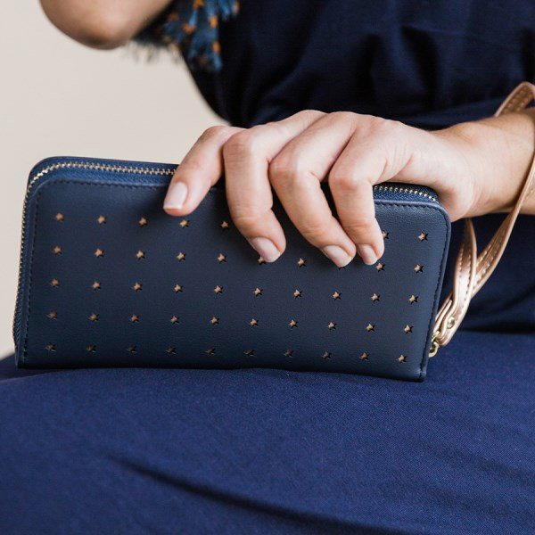 Navy faux leather purse with rose gold star detailing | Image 1