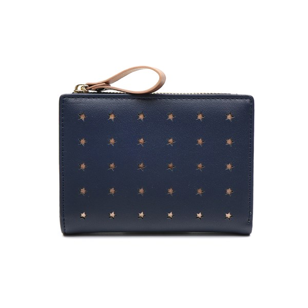 Compact navy faux leather and rose gold star purse | Image 1