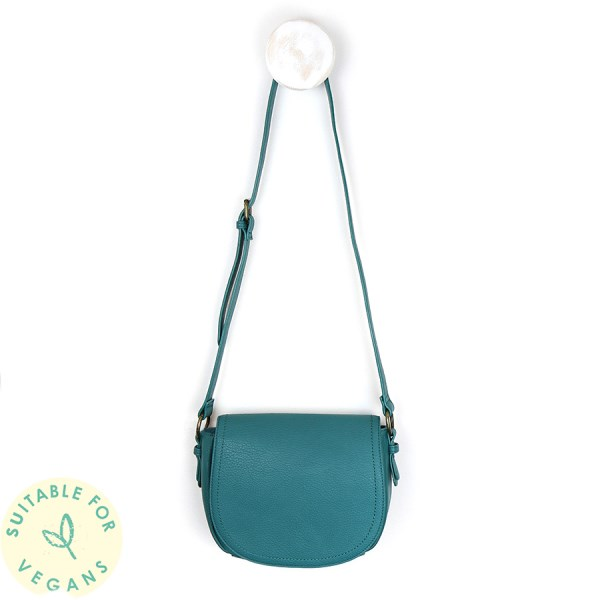 Teal vegan leather saddle bag with contrast stitching | Image 1