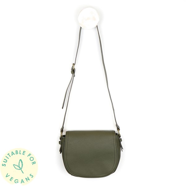Olive vegan leather saddle bag with contrast stitching | Image 1