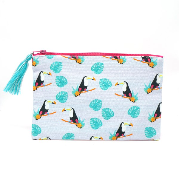 Cotton white purse with toucan print and tassel zip | Image 1