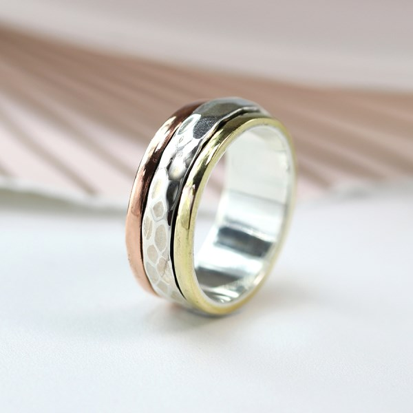 Sterling silver spinning ring with triple metallic finish | Image 1