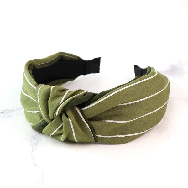 Green fabric covered headband with fine white stripes | Image 1