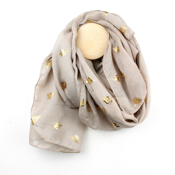 Neutral scarf with metallic gold bee print | Image 1