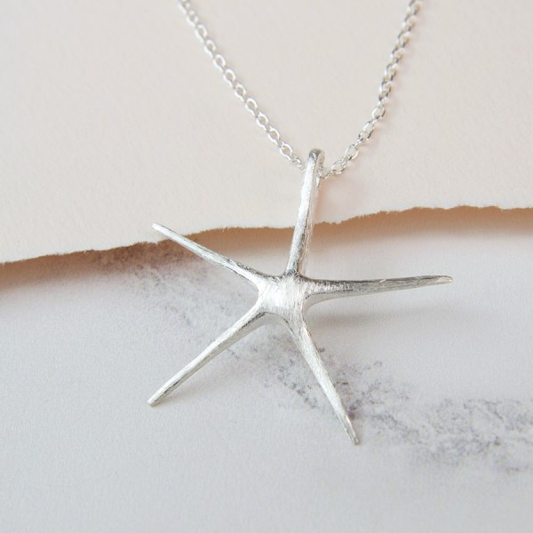 Sterling silver starfish necklace with brushed finish | Image 1