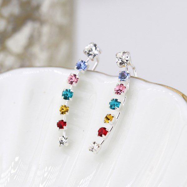 Sterling silver earlines with claw-set rainbow crystals | Image 1