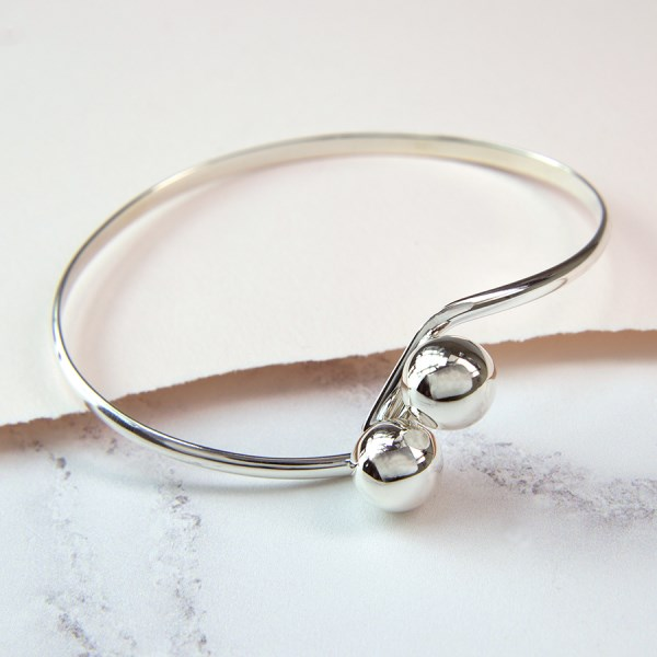 Sterling silver bangle with double ball fastening | Image 1