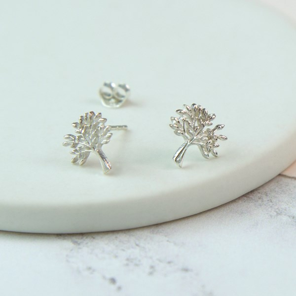 Sterling silver tree stud earrings | Image 1