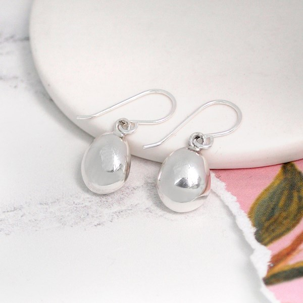 Sterling silver contemporary pebble drop earrings | Image 1