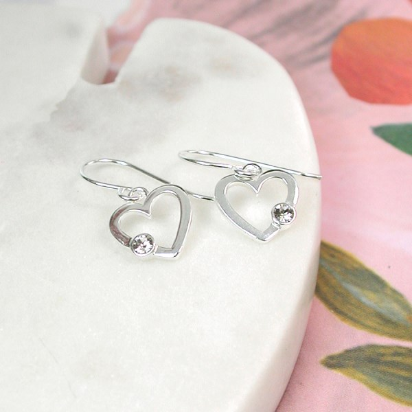 Sterling silver heart drop earrings with crystal | Image 1