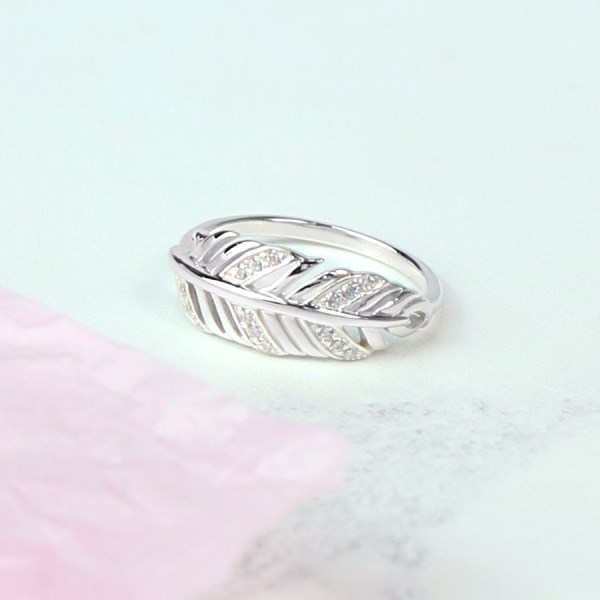 Sterling silver feather ring with crystal detailing | Image 1