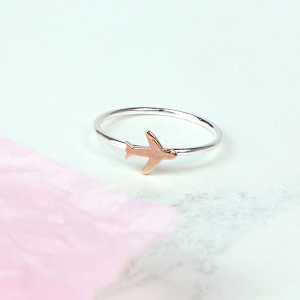Sterling silver ring with rose gold plated aeroplane | Image 1