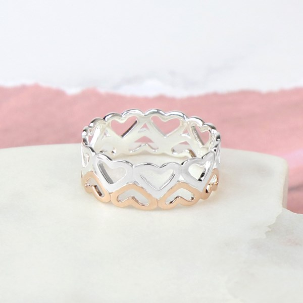 Sterling silver and rose gold double row of hearts ring | Image 1