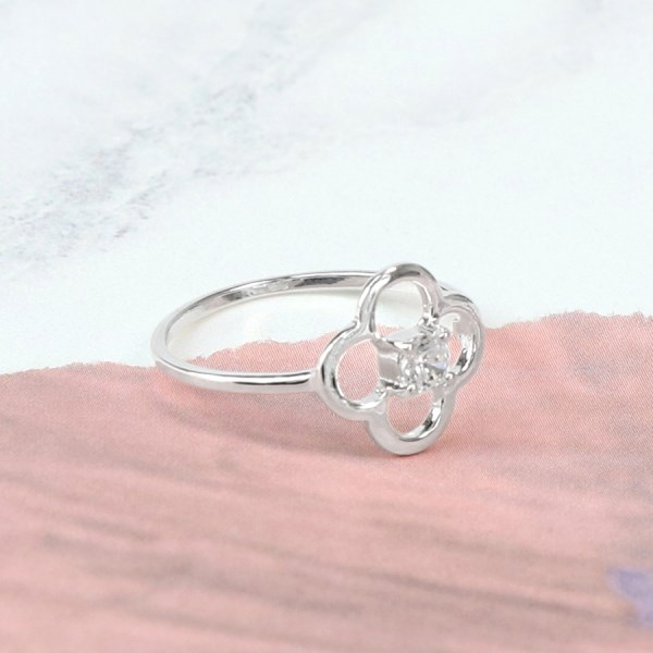 Sterling silver flower ring with CZ crystal centre | Image 1