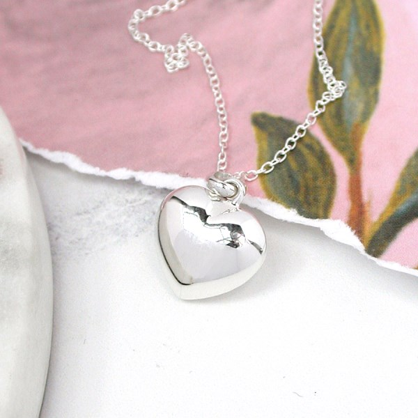 Sterling silver rounded heart pendant on a silver chain | Image 1