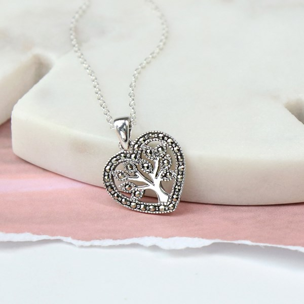 Sterling silver heart and tree of life Marcasite necklace | Image 1