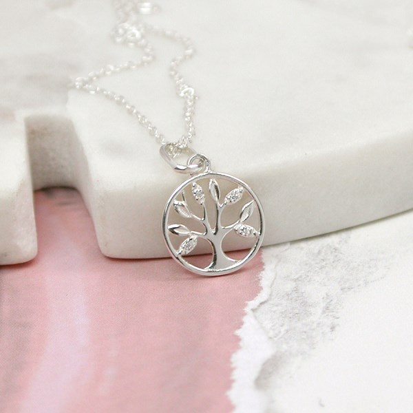 Sterling silver tree of life necklace with crystal detailing | Image 1