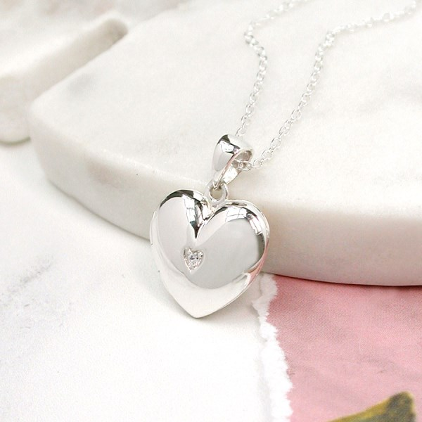Sterling silver heart shaped locket with crystal centre | Image 1