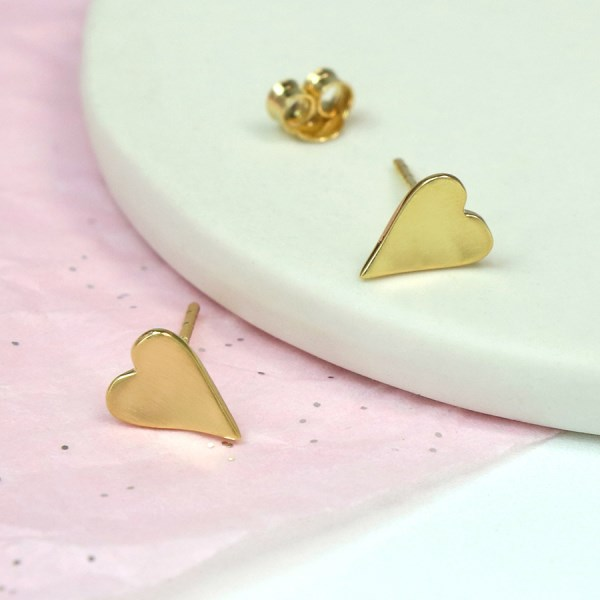 Gold plated concave heart stud earrings with satin finish | Image 1